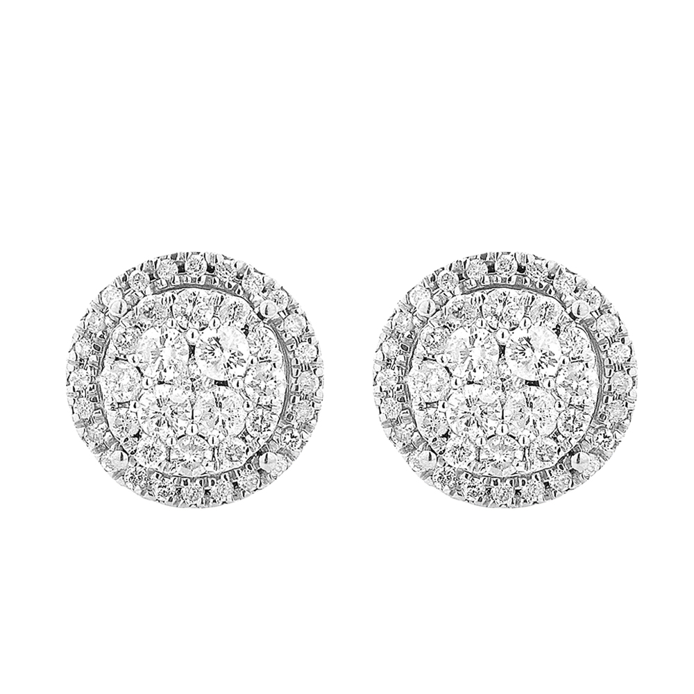 9ct Yellow Gold Stud Earrings With 1 Carat Of Diamonds