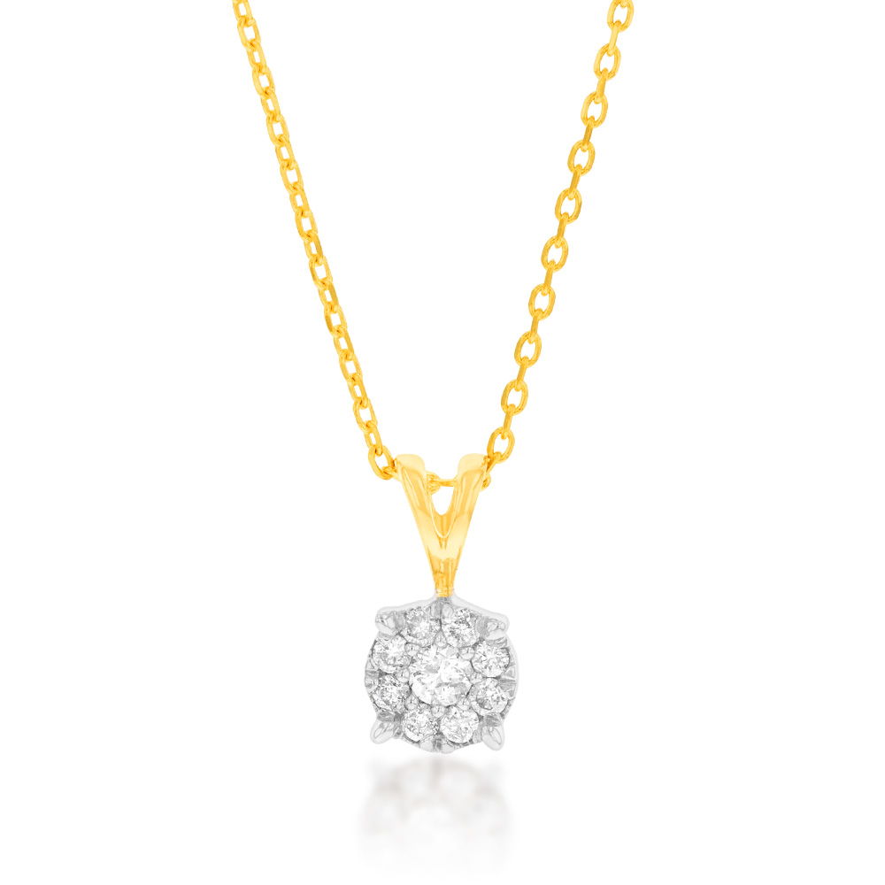 9ct Yellow Gold  Diamond Pendant with Infinity Detail on Side Profile on 45cm Chain