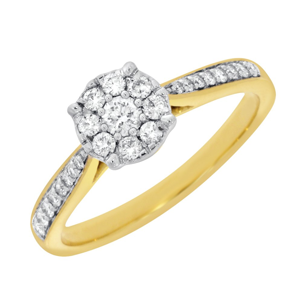 9ct Yellow Gold Ring With 0.35 Carats Of Diamonds
