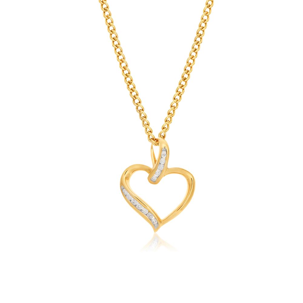9ct Yellow Gold Diamond Heart Pendant with 12 Brilliant Diamonds