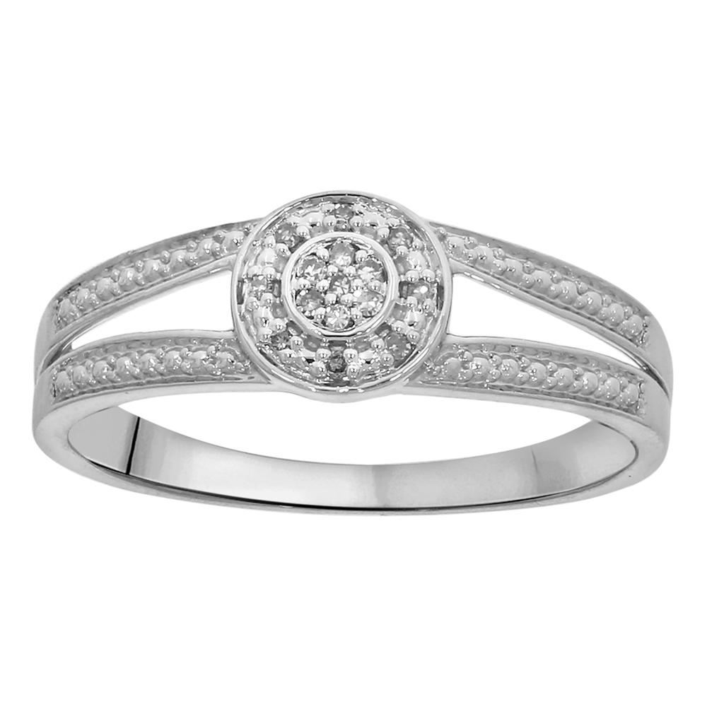 9ct White Gold Diamond Split Shank Ring