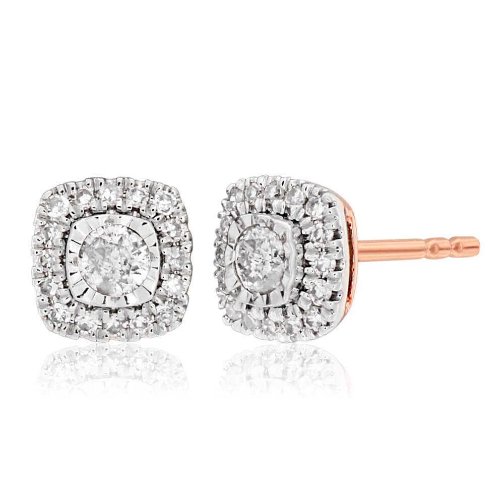 9ct Rose Gold Stud Earrings with 1/4 Carat of Diamonds