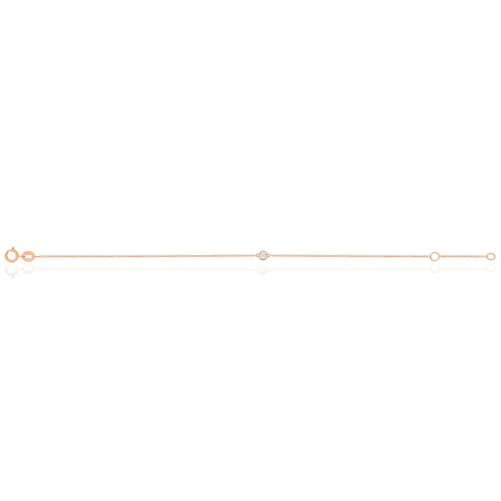 9ct Rose Gold Diamond Adjustable 16-18cm Bracelet
