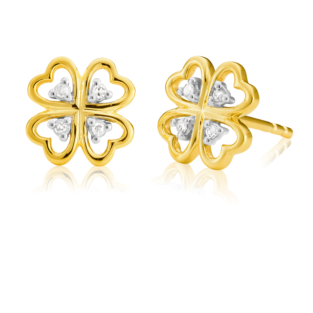 9ct Yellow Gold Diamond 4 Leaf Clover Earrings