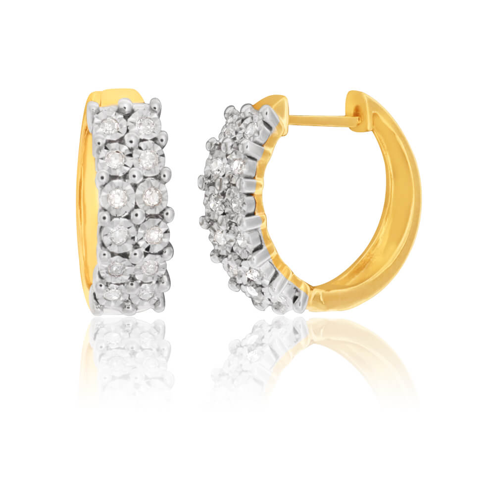 9ct Yellow Gold Delightful Diamond Earrings