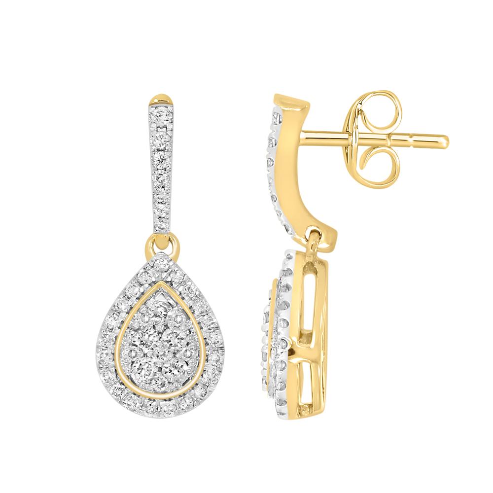 9ct Yellow Gold 0.50 Carat Diamond Pear Shaped Earrings