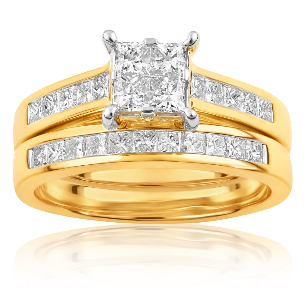 SEAMLESS LOVE 9ct Yellow Gold Bridal Set Ring with 1.50 Carat of Diamonds
