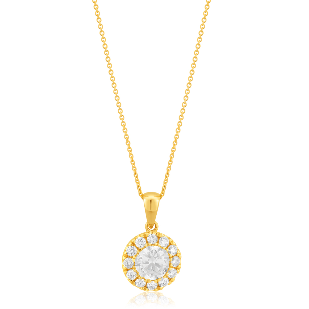 14ct Yellow Gold Halo Pendant with 1.30 Carat of Diamonds with Chain