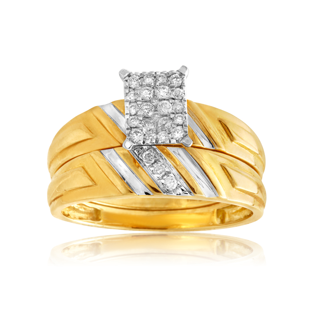 9ct Yellow Gold 2-Ring Diamond Bridal set with 0.20 Carat of Diamonds
