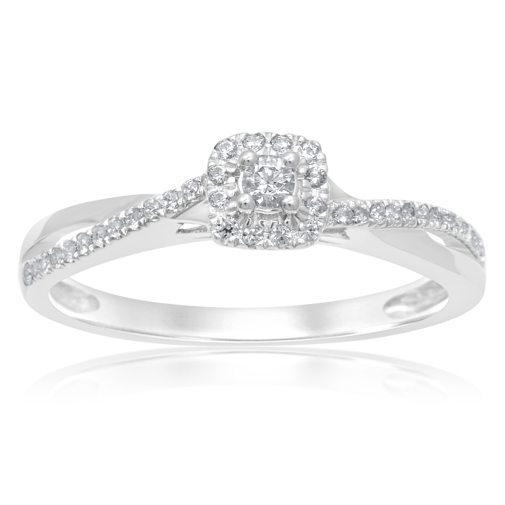 9ct White Gold Solitaire Ring with 1/5 Carat of Diamonds
