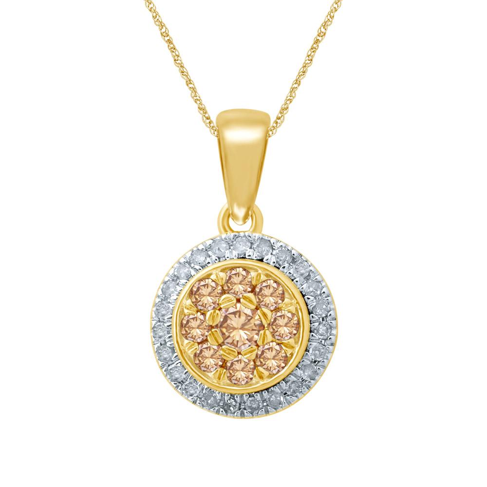 9ct Yellow Gold 0.40 Carat Western Australian Diamond Cluster Pendant on 45cm Chain