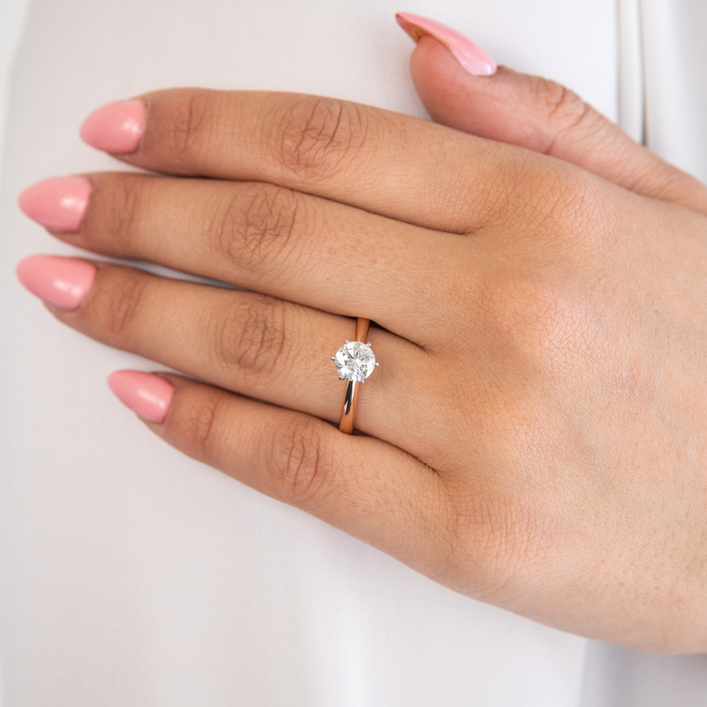 18ct Rose Gold Solitaire Ring With 1 Carat Diamond