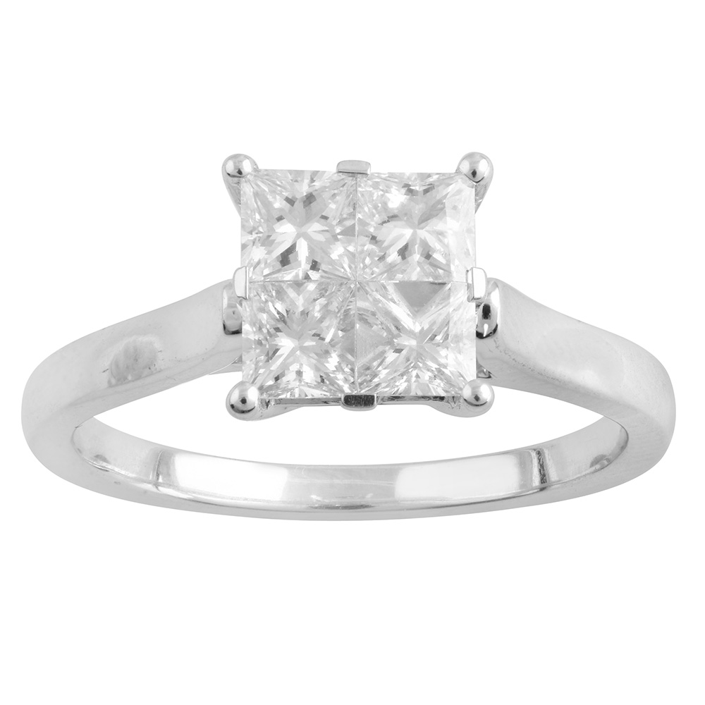 9ct White Gold Princess Cut Ring with 1.00 Carat of Diamonds