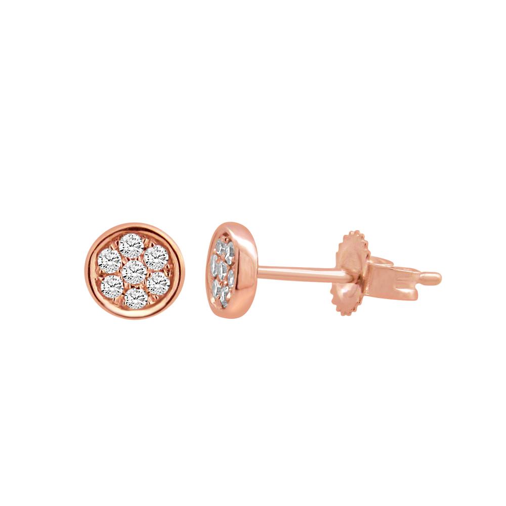 9ct Rose Gold Diamond Pave Stud Earrings