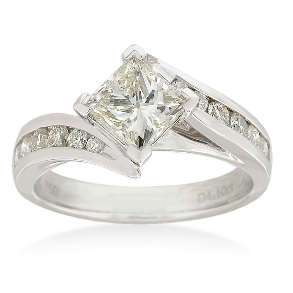 18ct White Gold 1.50 Carat Diamond Ring with 1.00 Carat Princess Centre Diamond