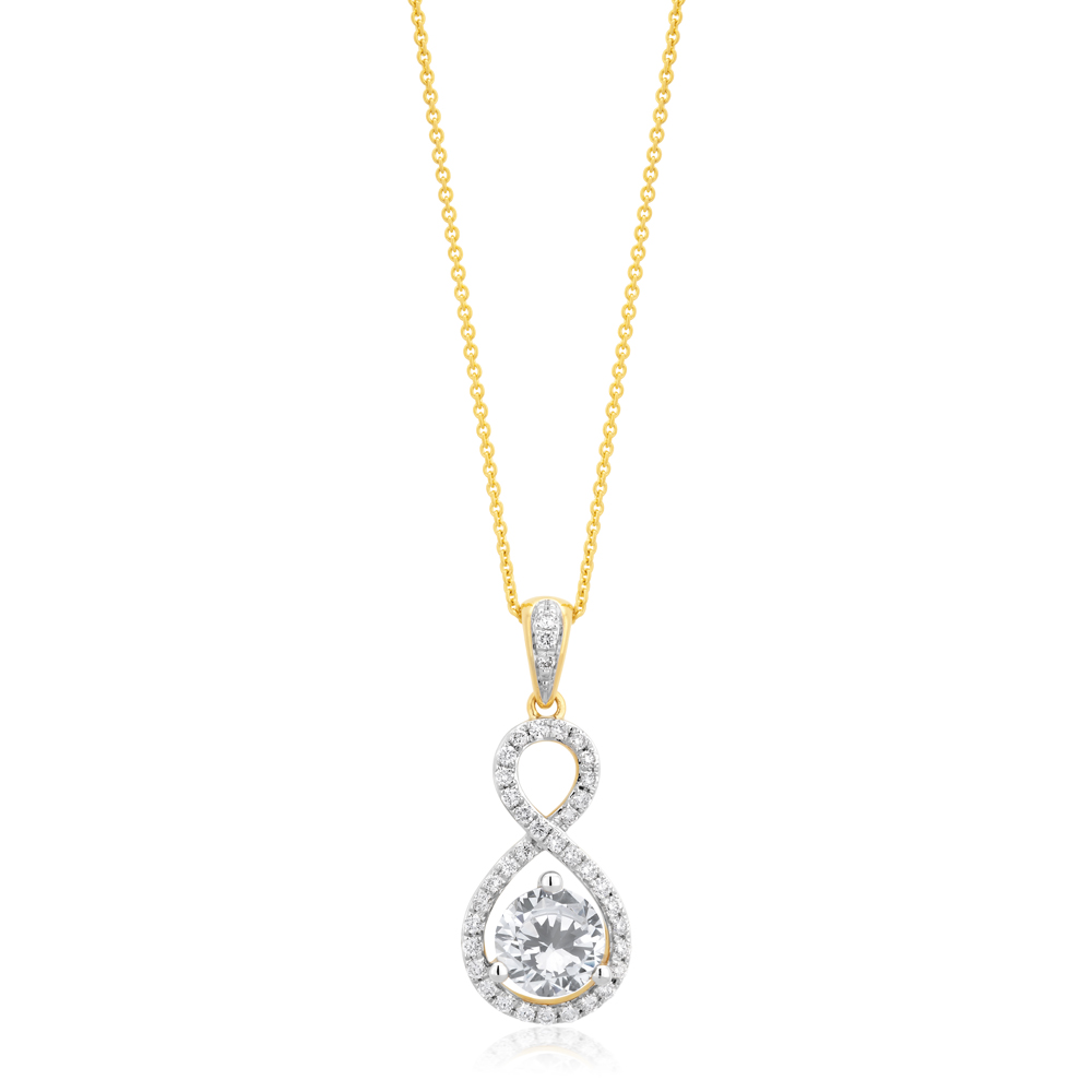 18ct Yellow Gold 1.2 Carat Diamond Pendant on 18ct 45cm Chain