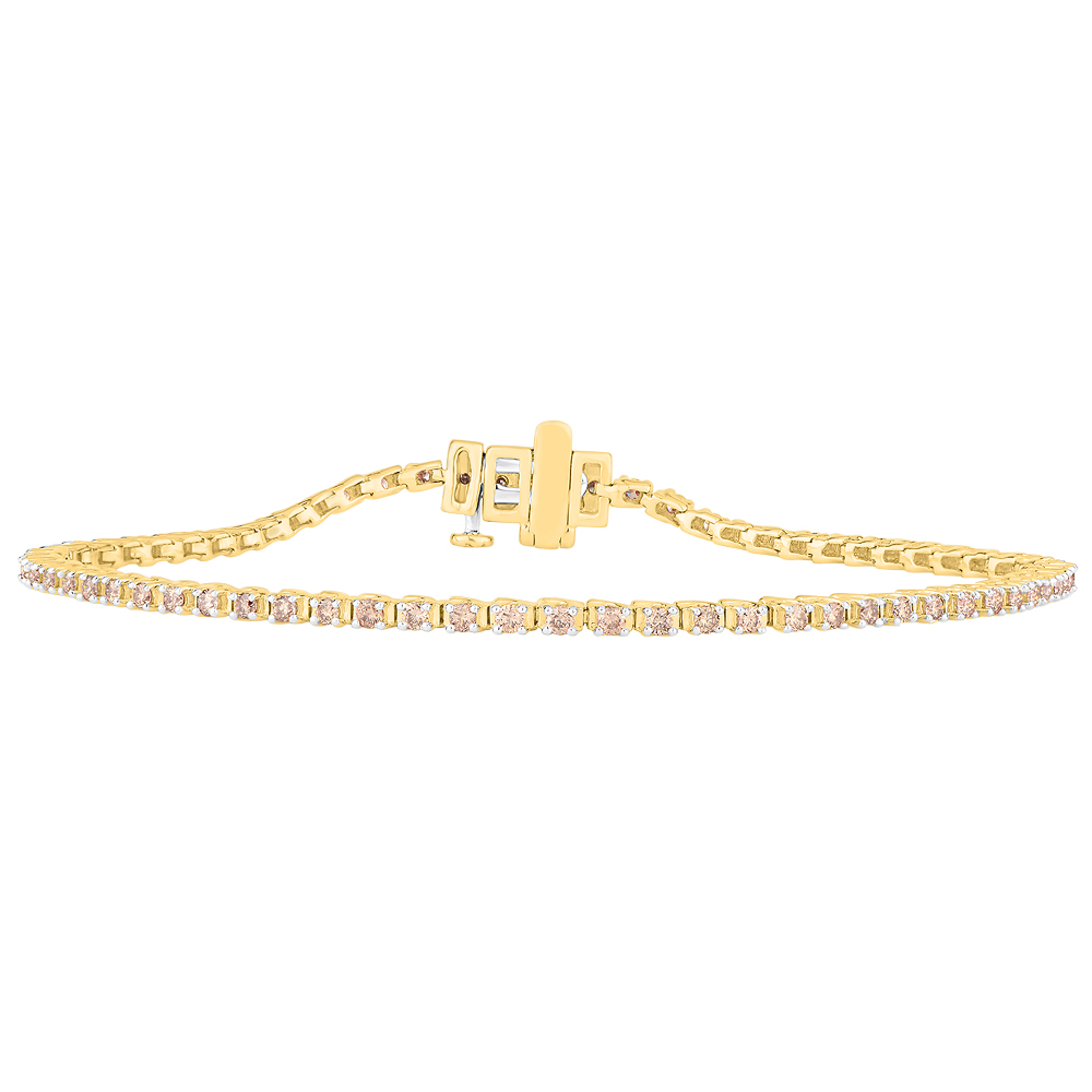 9ct Yellow Gold 2 Carat Diamond Tennis Bracelet set with 54 Brilliant Diamonds 18cm