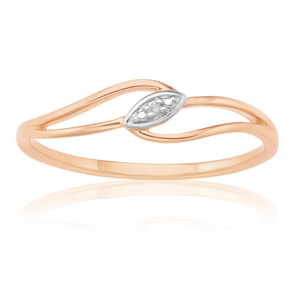 9ct Rose Gold Diamond Ring with 1 Brilliant Cut Diamond