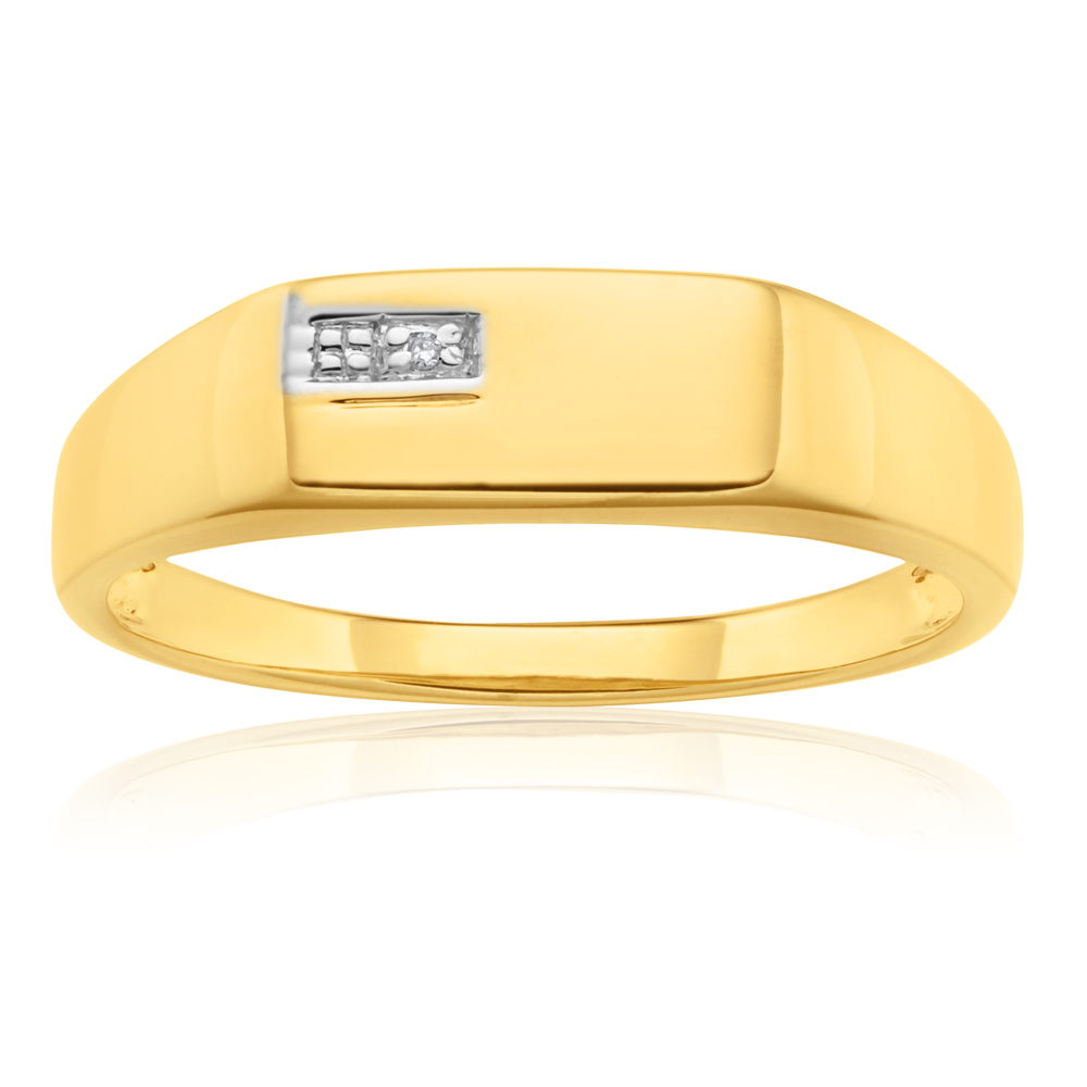 9ct Yellow Gold Diamond Man's Ring