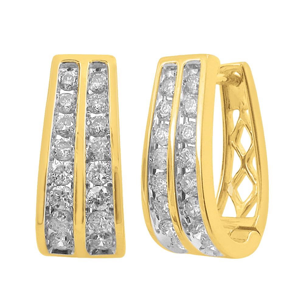 9ct Yellow Gold 1 Carat Diamond Double Row Hoop Earrings