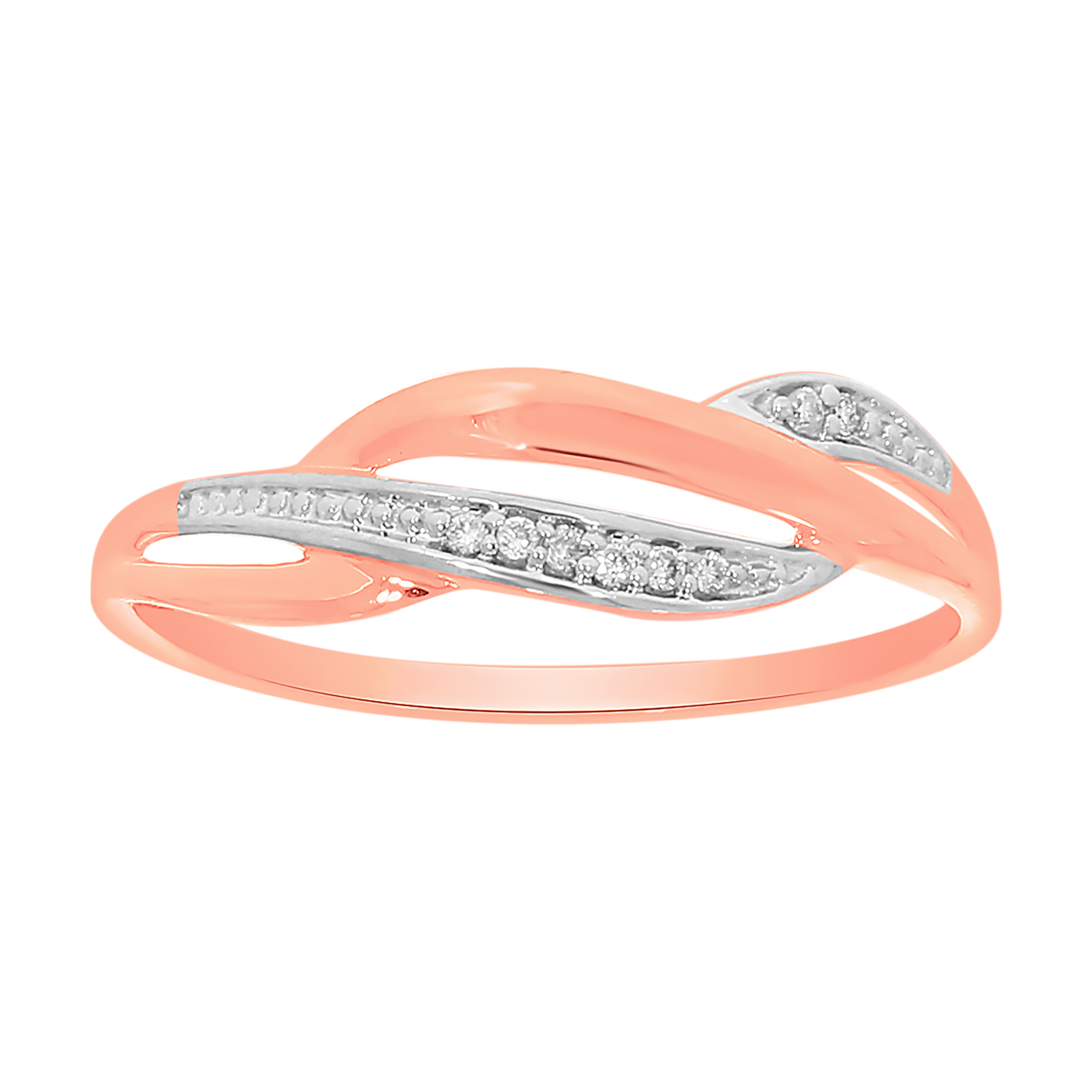 9ct Rose Gold Diamond Ring with 8 Briliiant Diamonds