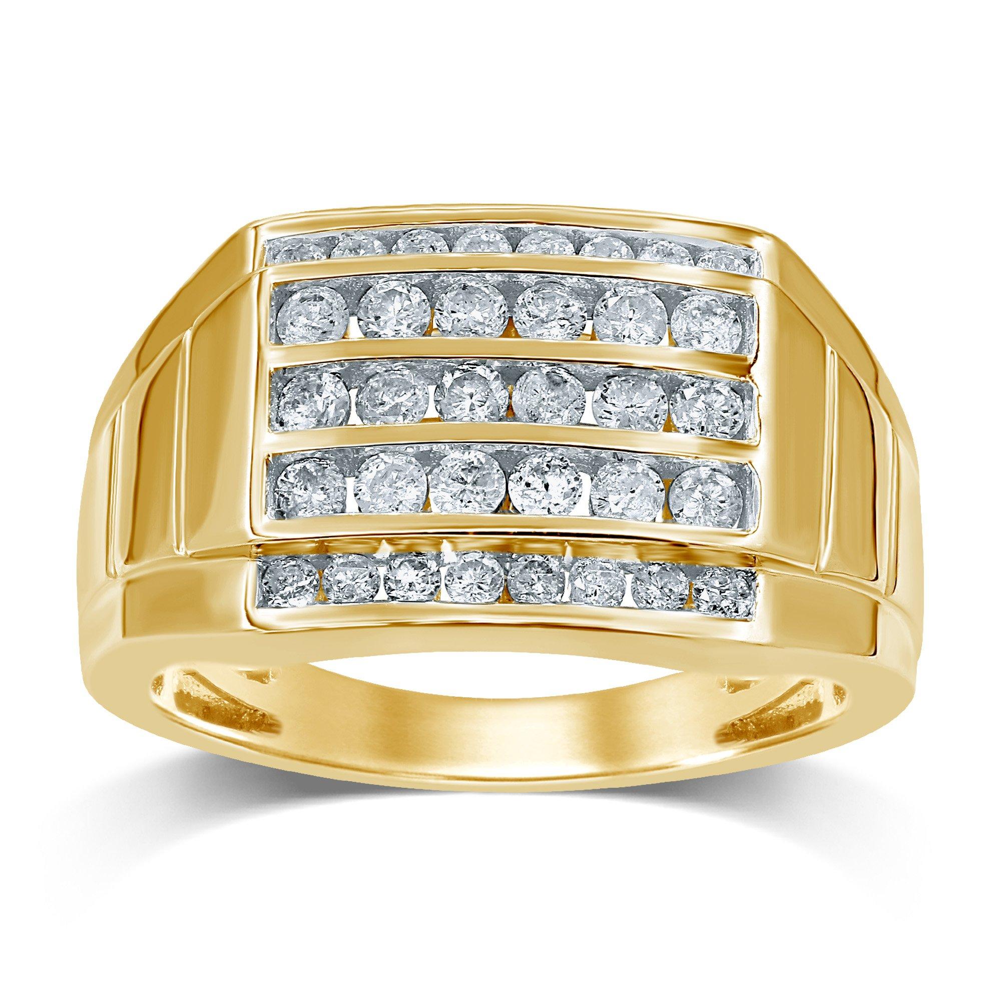 9ct Yellow Gold 1 Carat 5 Row Channel Set Diamond Mens Ring