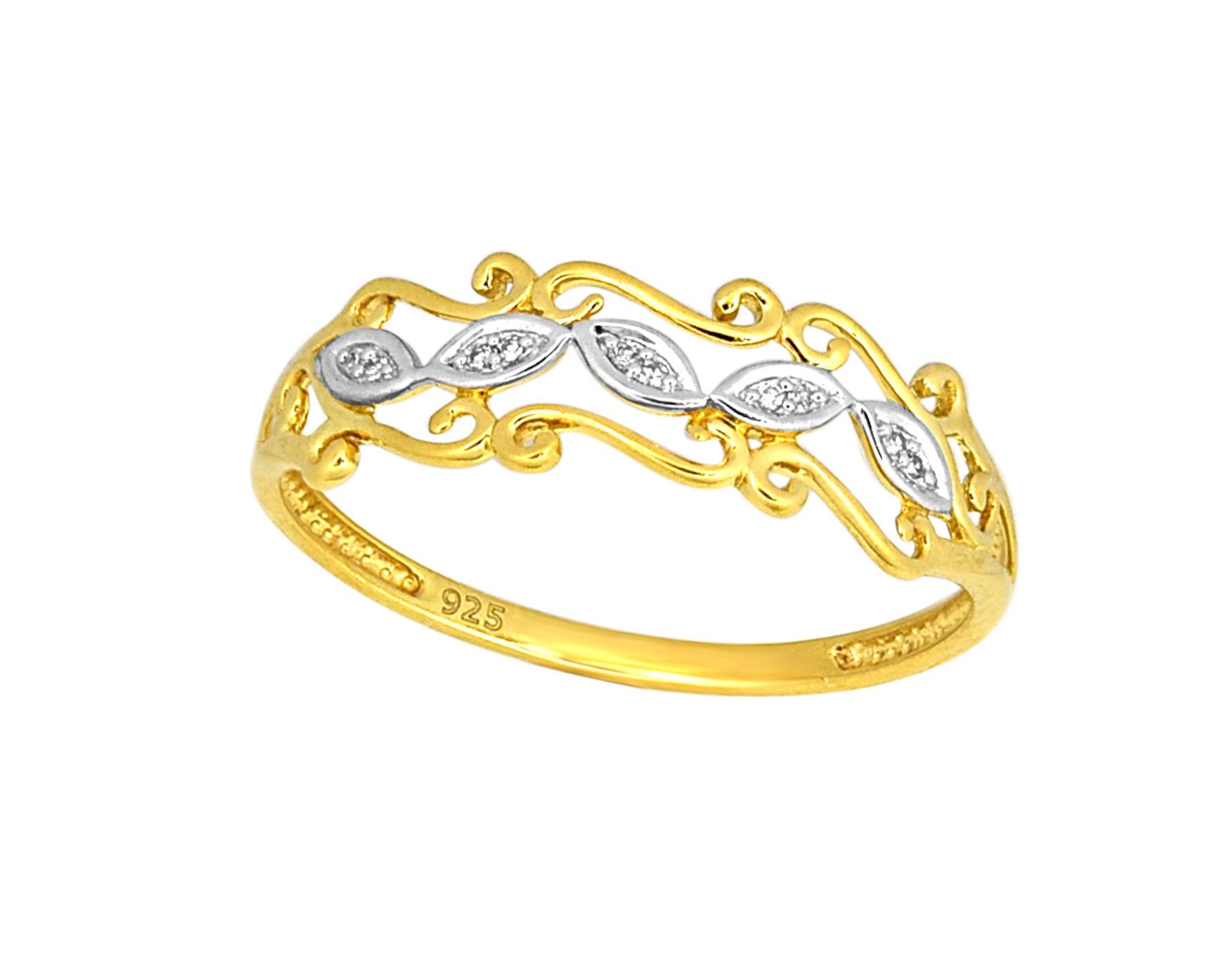 9ct Yellow Gold Diamond Ring with 10 Brilliant Diamonds