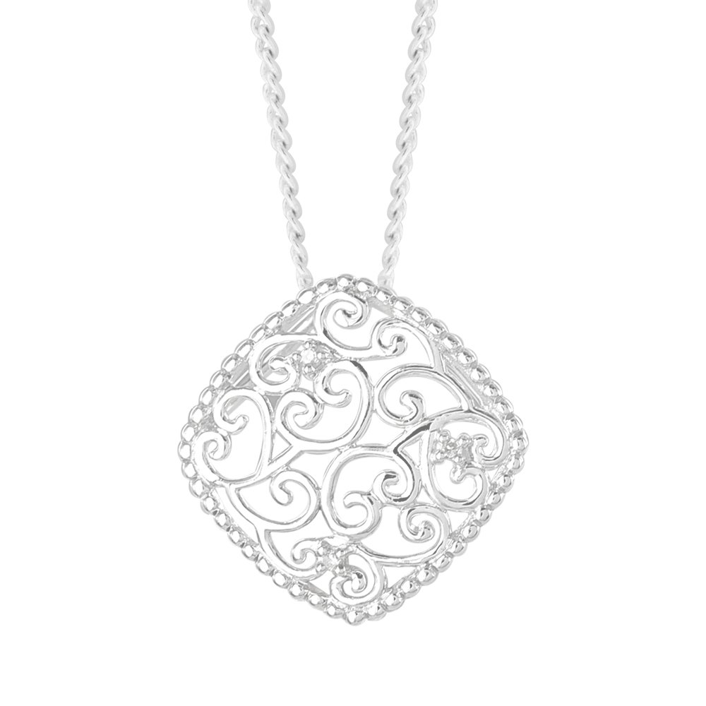 9ct White Gold Diamond Pendant with 3 Diamonds