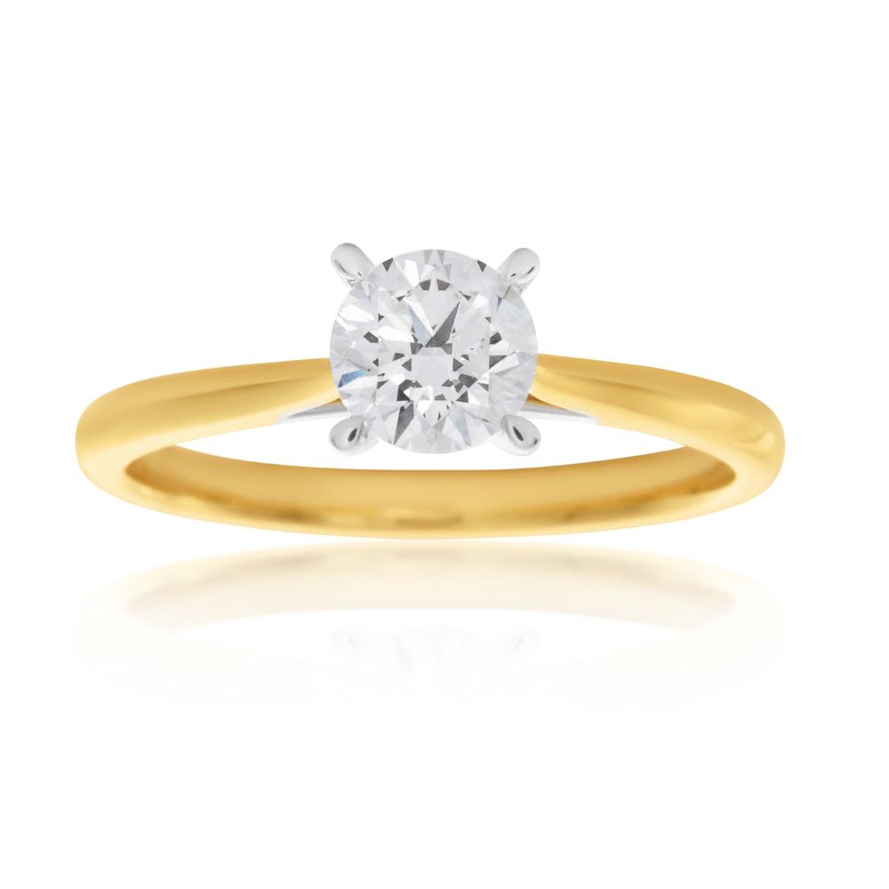 Luminesce  Laboratory Grown 1/2 Carat Diamond Ring in 18ct Yellow Gold Knife Edge