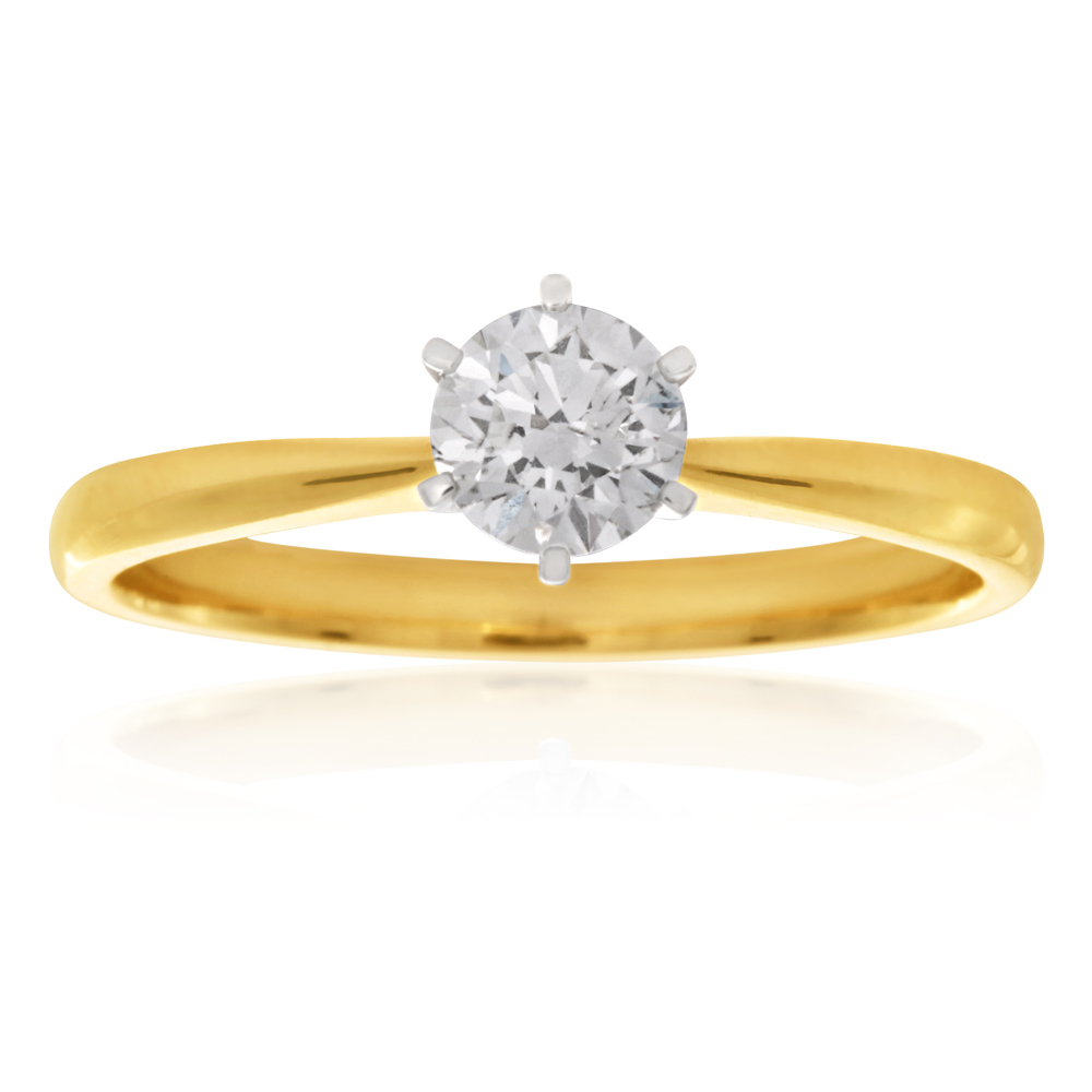 Luminesce Laboratory Grown 1/2 Carat Diamond Ring in 18ct Yellow Gold 6Claw Setting
