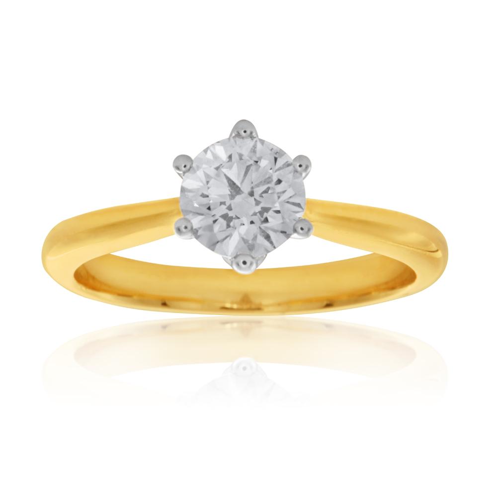 Luminesce Laboratory Grown 3/4 Carat Diamond Ring in 18ct Yellow Gold 6Claw Setting