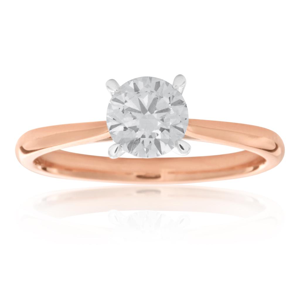 Luminesce Laboratory Grown 3/4 Carat Diamond Ring in 18ct Rose Gold 4Claw Knife Edge