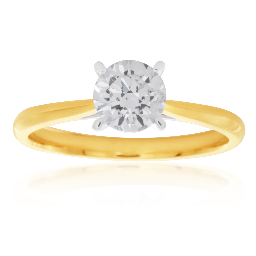 Luminesce Laboratory Grown 18ct Yellow Gold with 1 Carat Diamond Solitaire Plain Ring