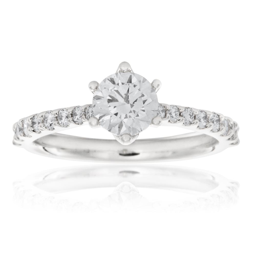 Luminesce Laboratory Grown 18ct White Gold 1 Carat Diamond Ring with 3/4 Carat Centre