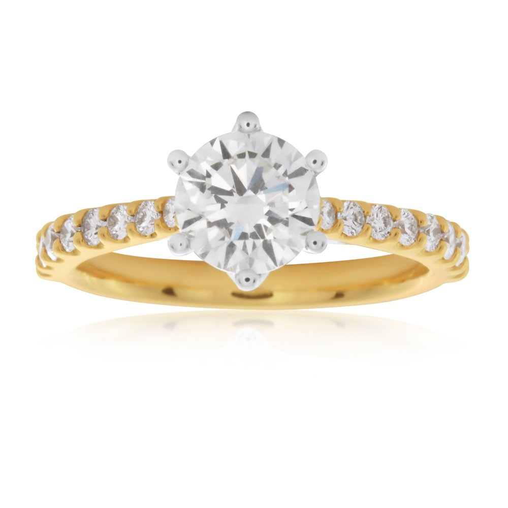 Luminesce Laboratory Grown 18ct Yellow Gold 1 Carat Diamond Ring with 1 Carat Centre