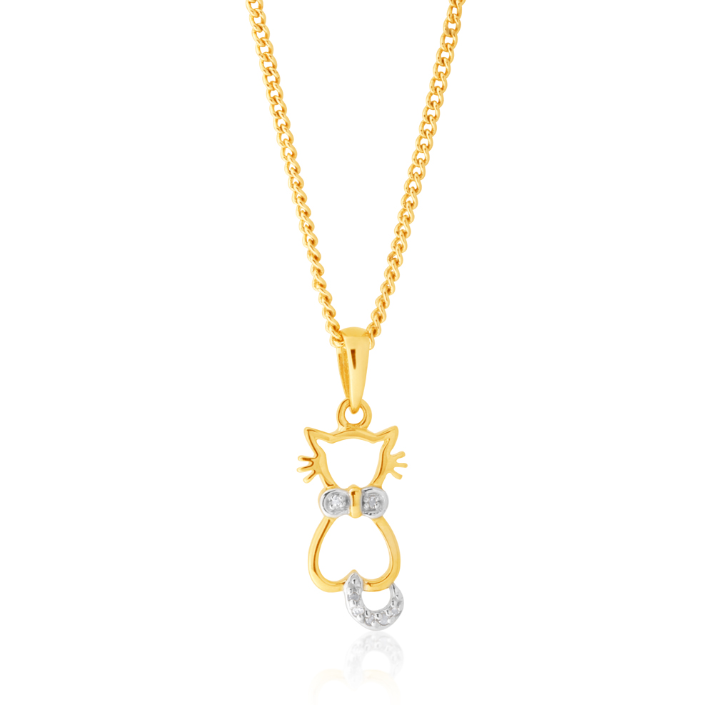 9ct Yellow Gold Diamond Cat Pendant with 7 Brilliant Cut Diamonds