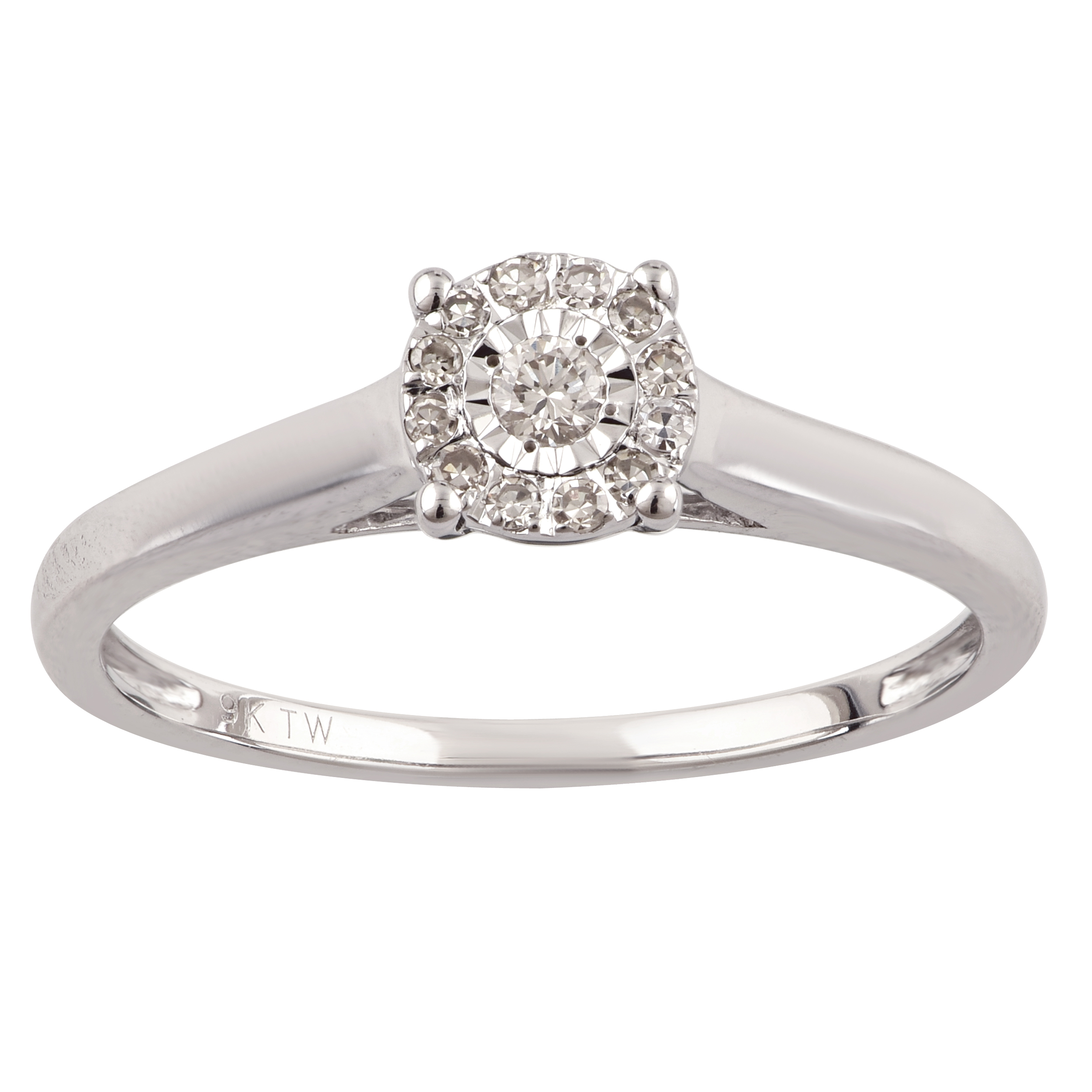 9ct White Gold 10 Points Diamond Ring with 13 Brilliant Cut Diamonds
