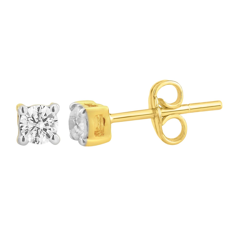 9ct Yellow Gold  0.20 Carat Diamond Stud Earrings