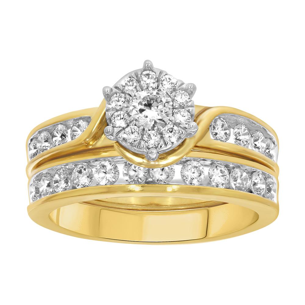 9ct Yellow Gold 1 Carat Diamond 2 Ring Bridal Set