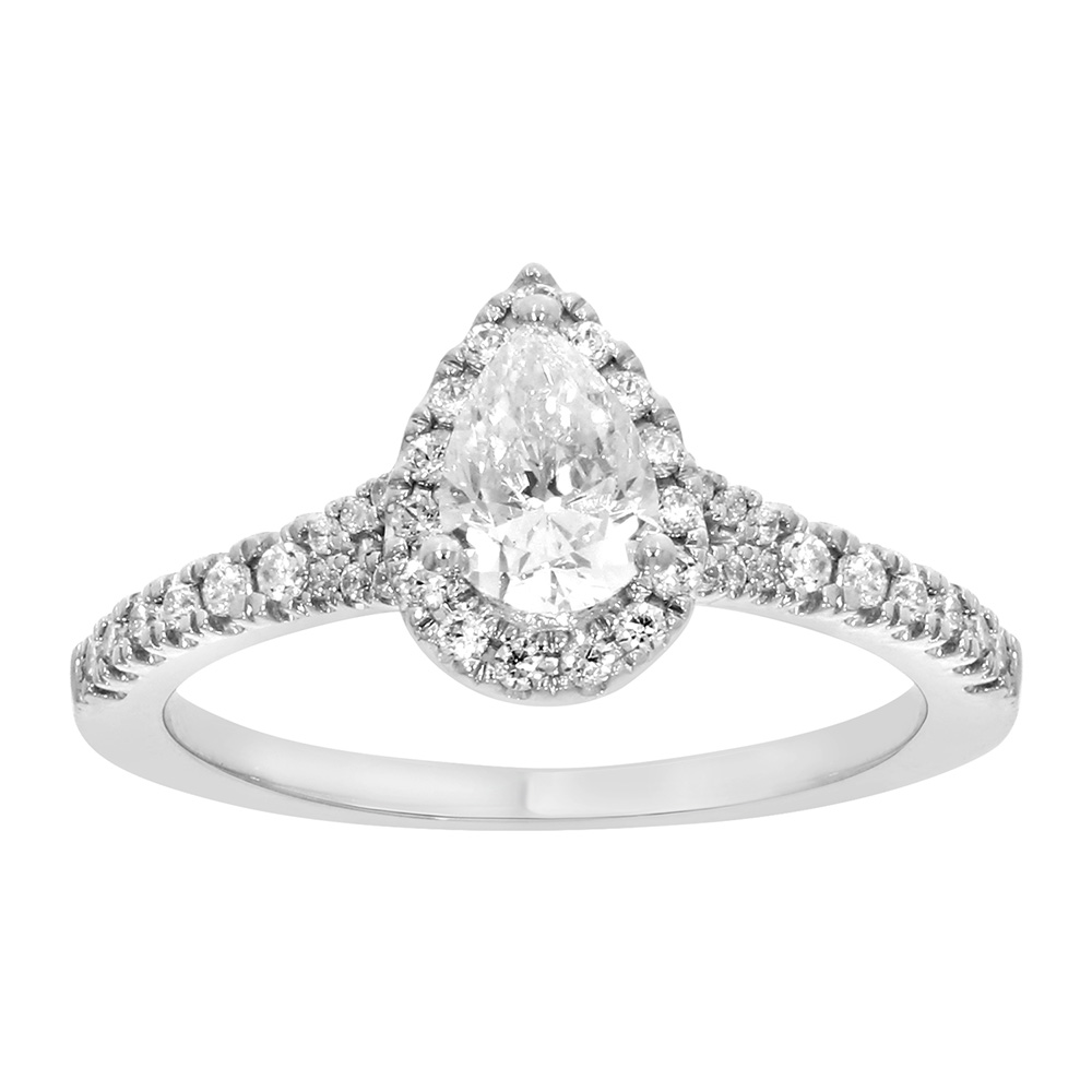 9ct White Gold 1 Carat Pear Cut Diamond Solitaire Ring wtih Briliant Halo and Sides