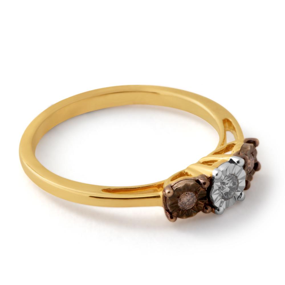 9ct Yellow Gold Australian Champagne Diamond Ring with 2 Brilliant White Diamonds