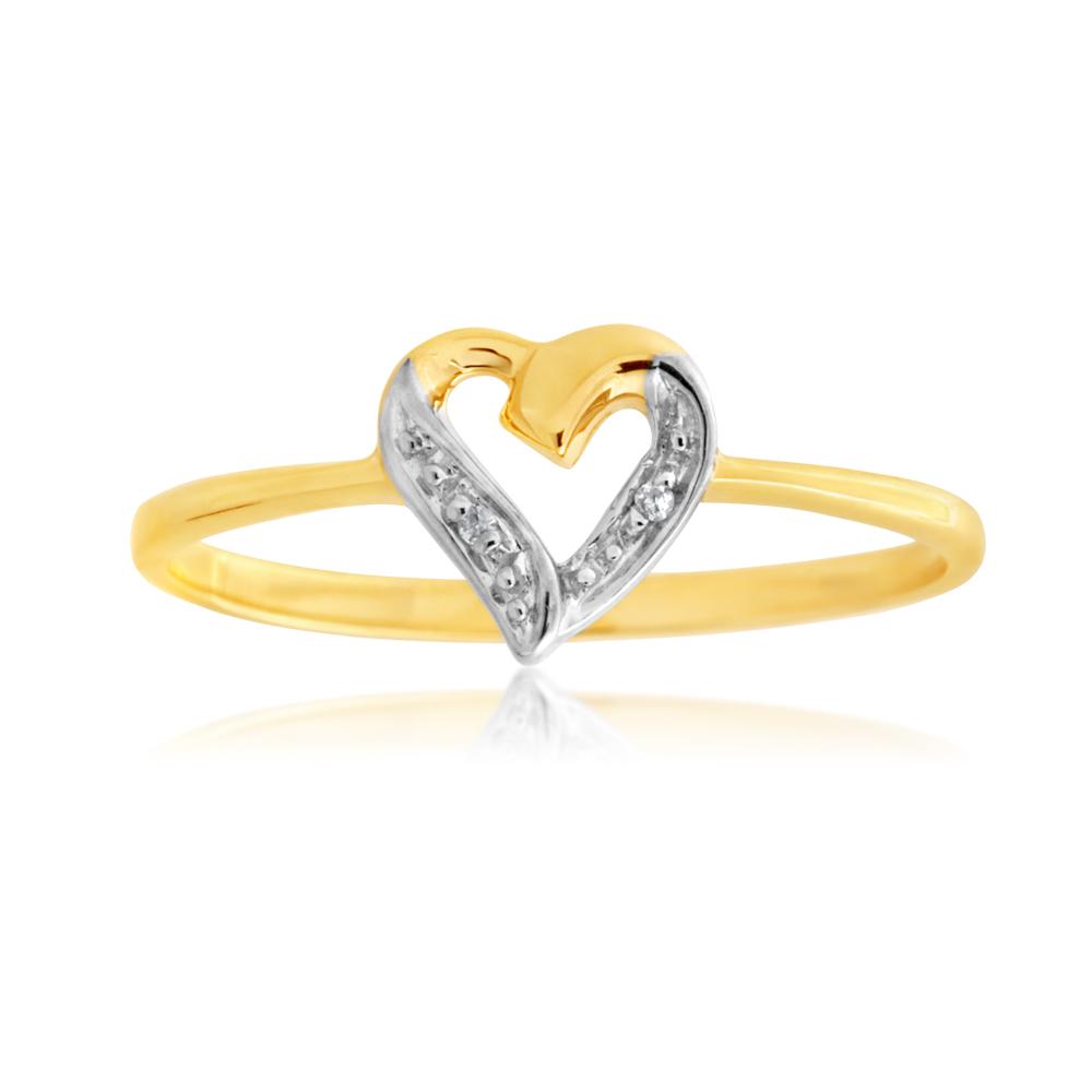 9ct Yellow Gold Diamond Heart Ring with 2 Brilliant Cut Diamonds