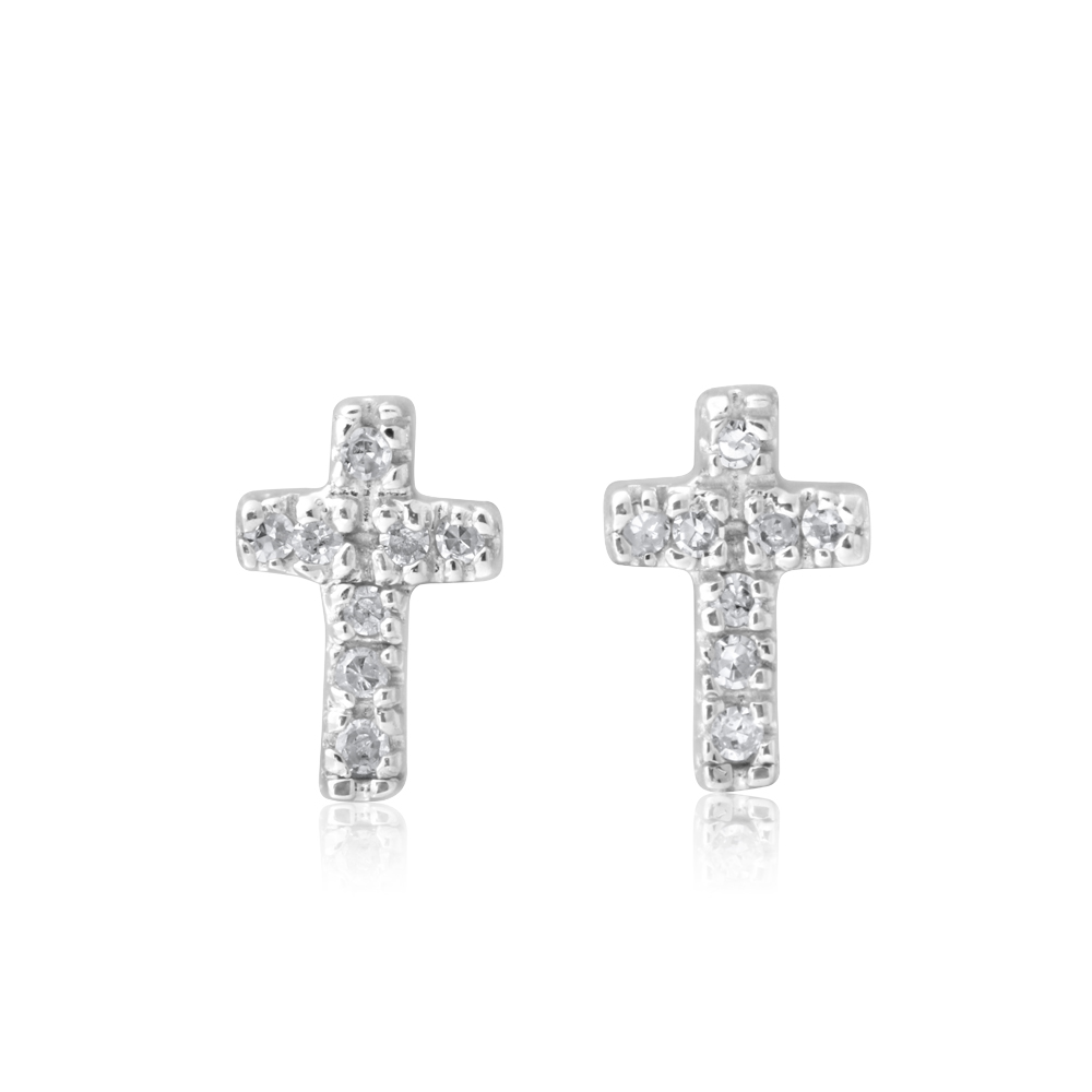 9ct Yellow Gold Diamond Cross Stud Earrings with 16 Brilliant Cut Diamonds