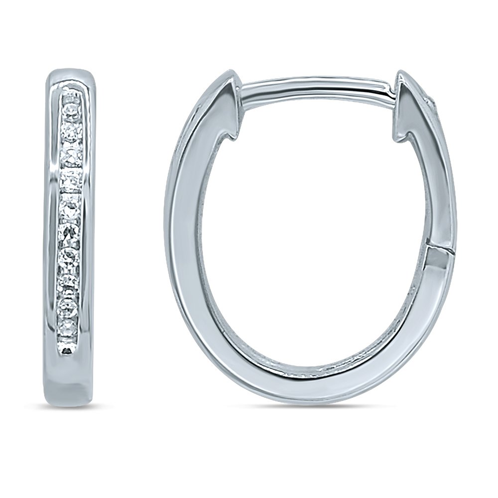 9ct White Gold Hoop Earrings with 20 Brilliant Diamonds