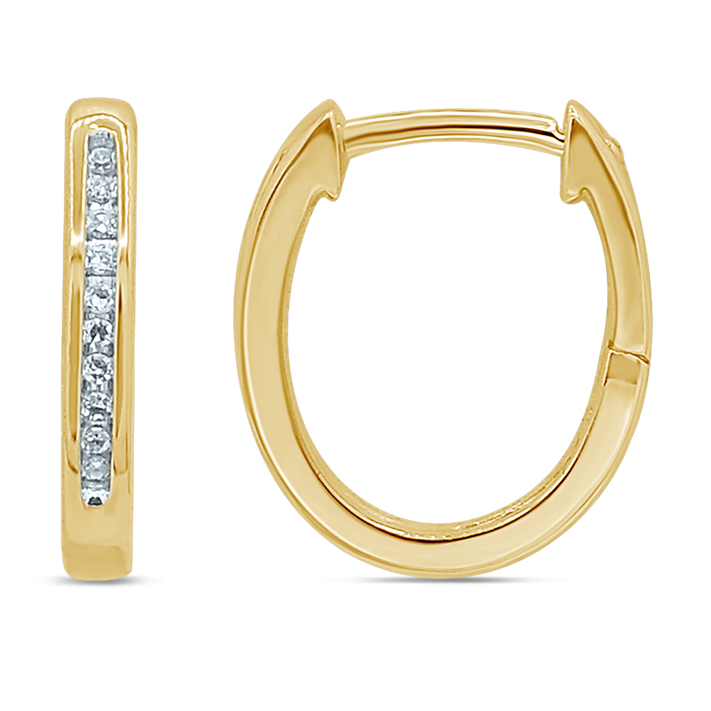 9ct Yellow Gold Hoop Earrings with 20 Brilliant Diamonds