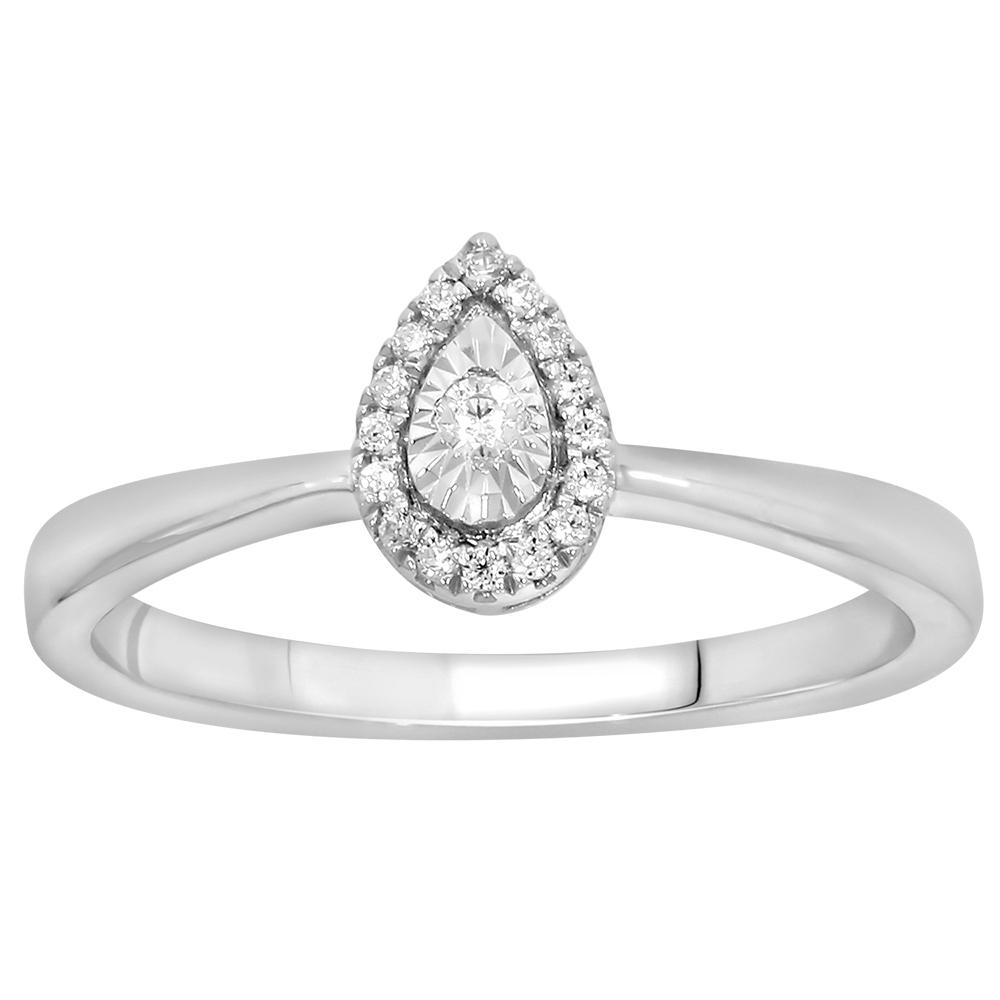 9ct White Gold Diamond Ring with 17 Brilliant Cut Diamonds
