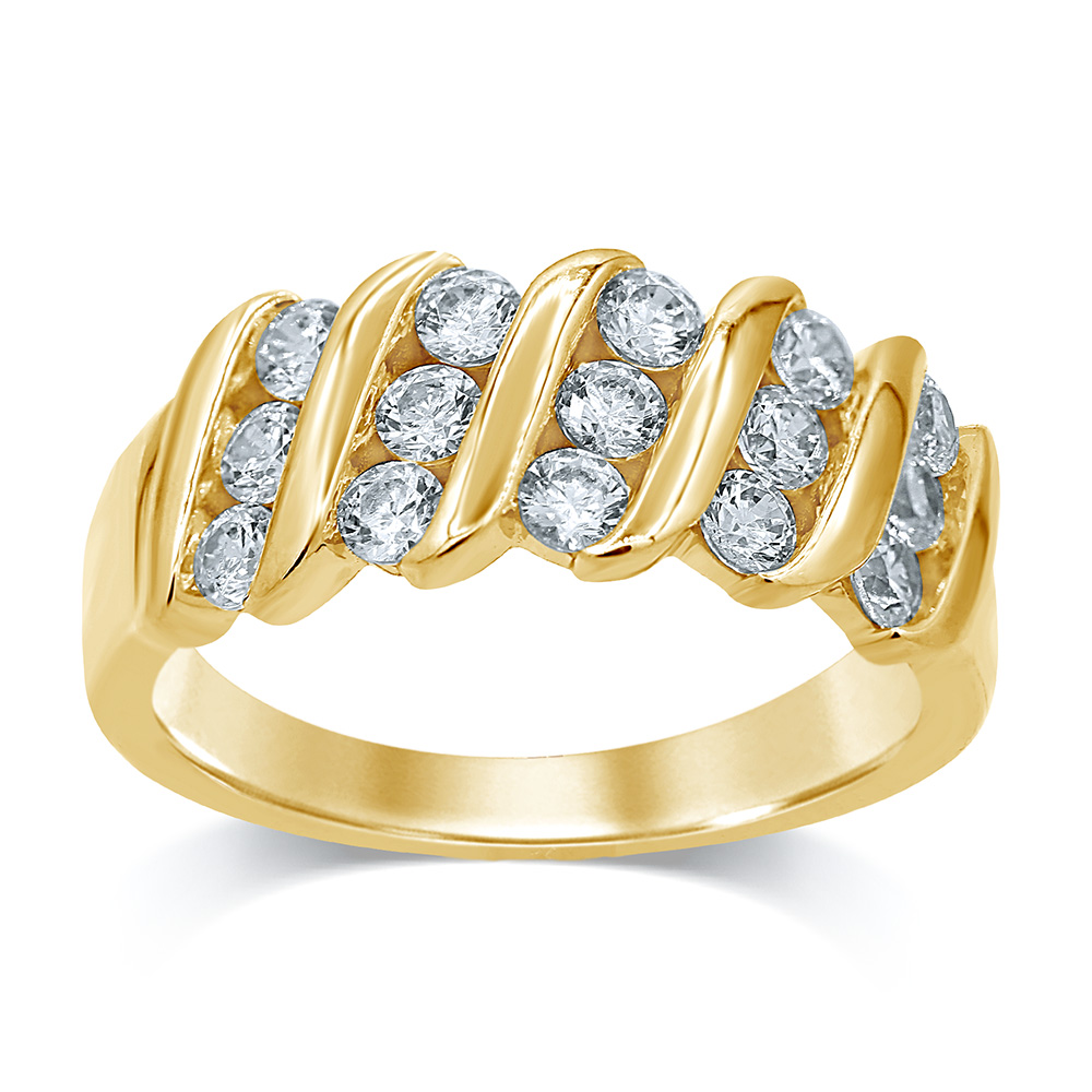 Luminesce Lab Grown 9ct Yellow Gold 1 Carat Diamond Dress Ring with 15 Diamonds