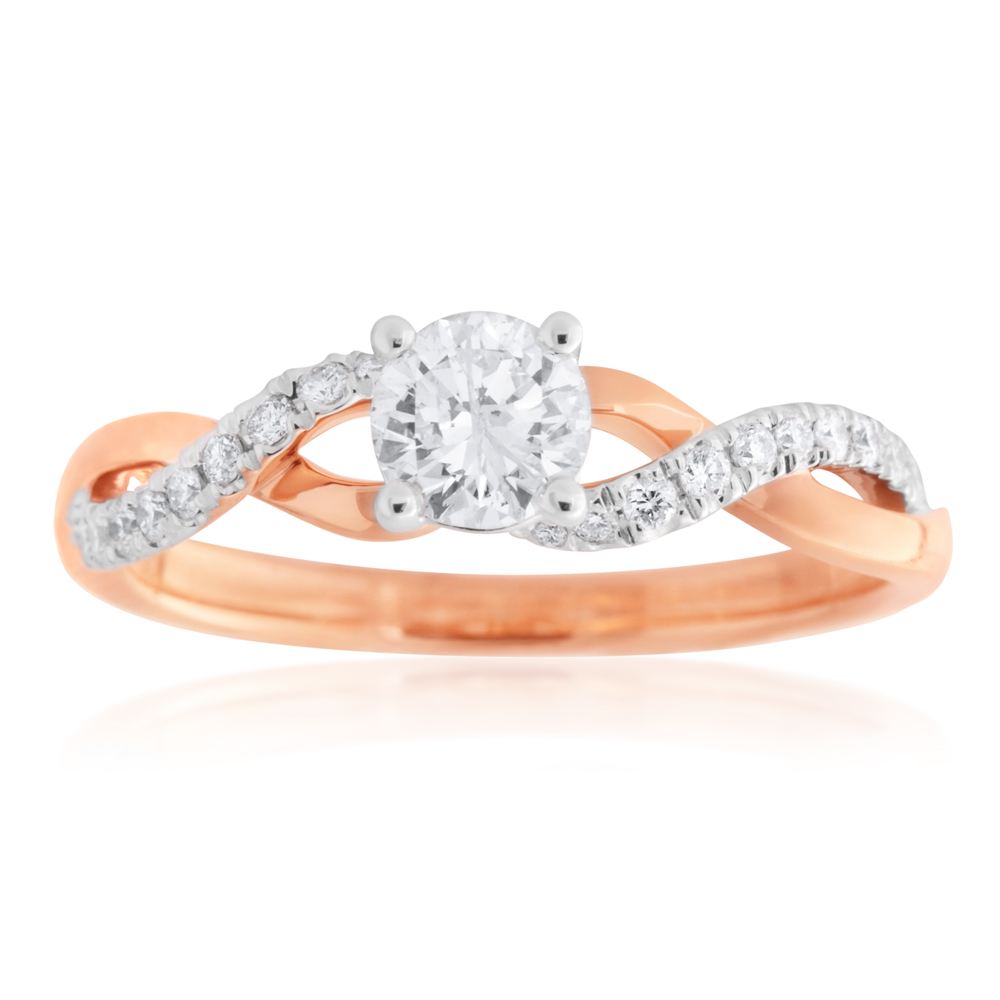 18ct Rose Gold 0.70 Carat Diamond Ring with 0.50 Carat Diamond Centre