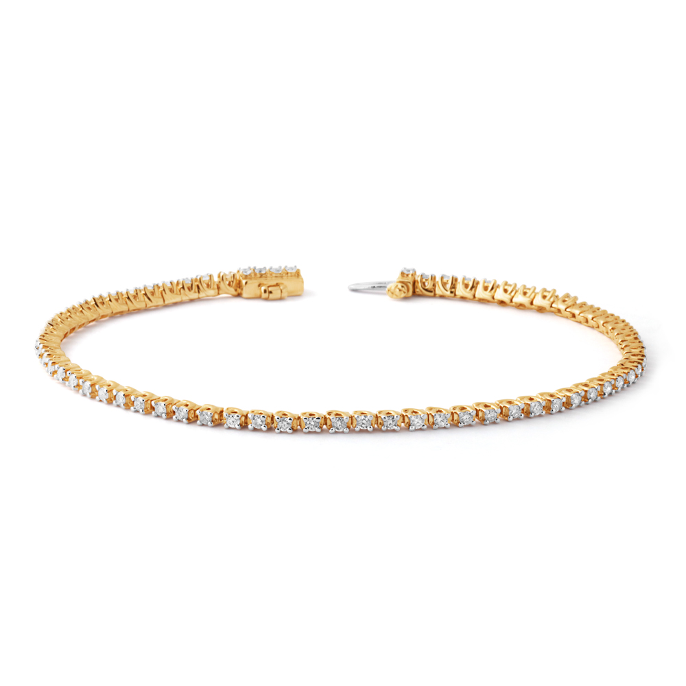 9ct Yellow Gold 1 Carat Diamond Tennis Bracelet set with 68 Brilliant Diamonds 17.5cm