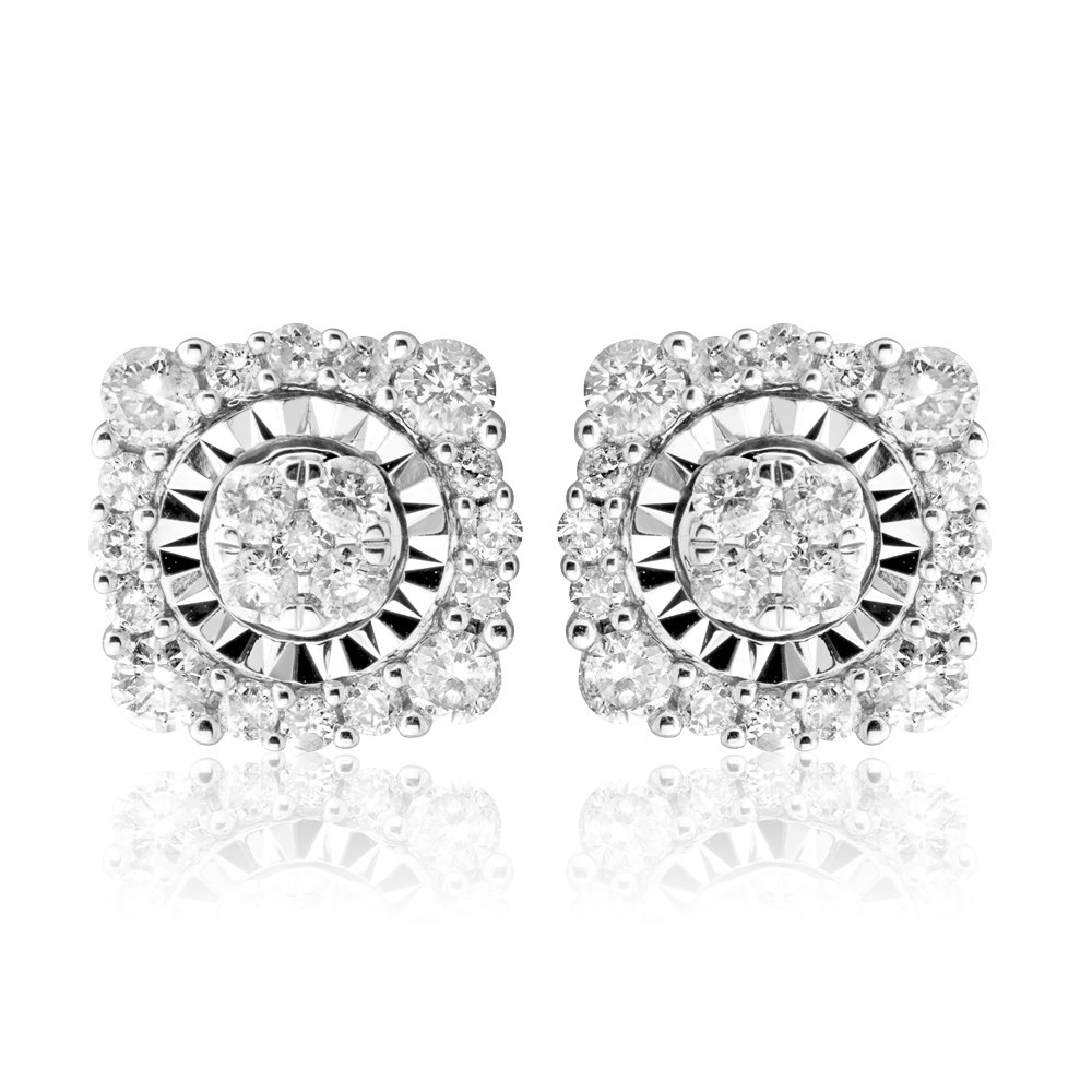 9ct White Gold 1/2 Carat Cluster Diamond Stud Earrings